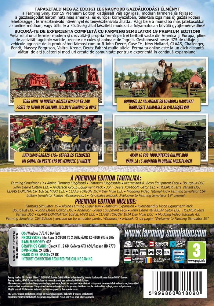 PC játék Farming Simulator 19 Premium Edition (november 12.) hátlap