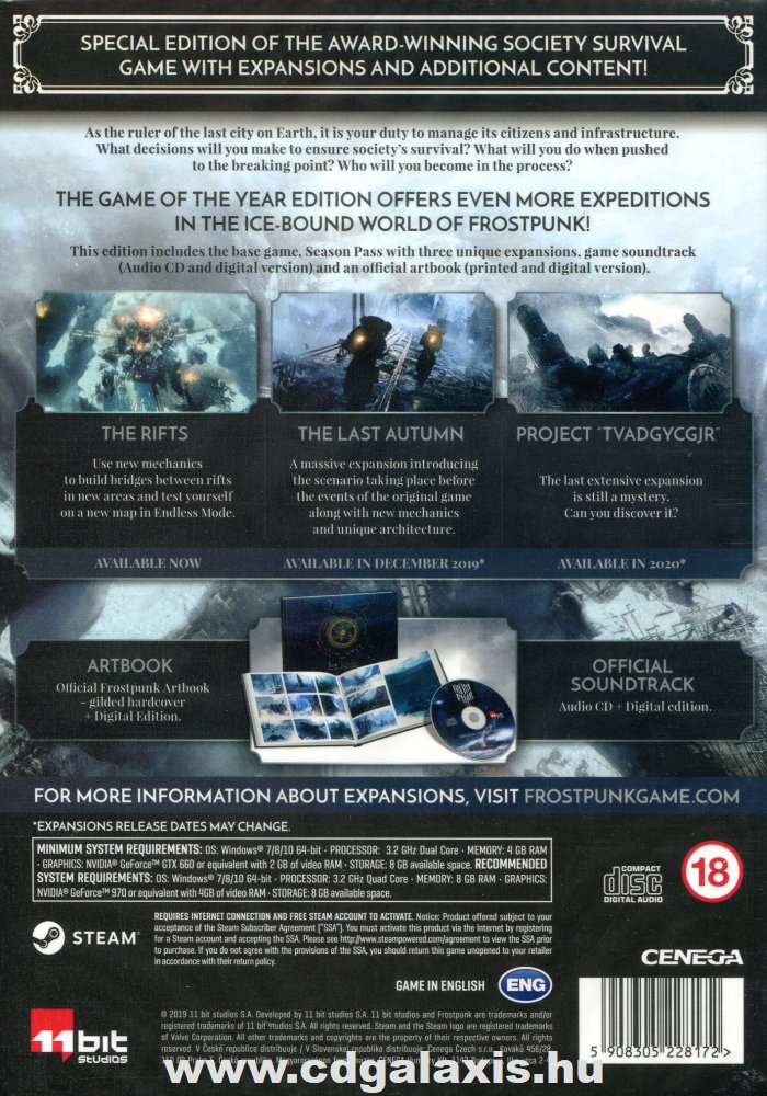 PC játék Frostpunk Game of the Year Edition hátlap
