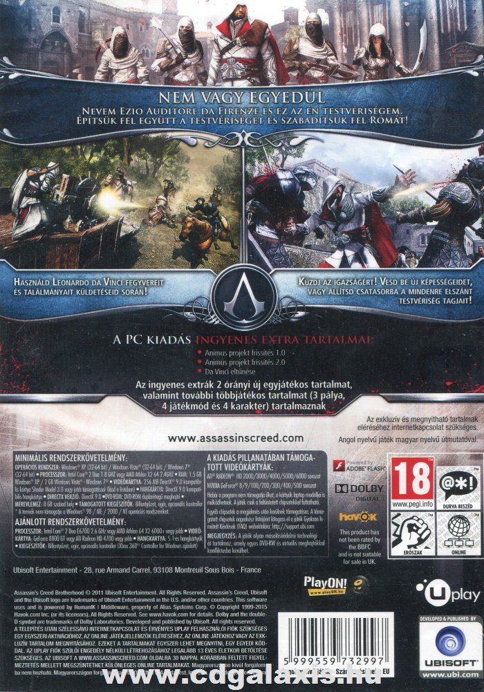 PC játék Assassins Creed Brotherhood hátlap