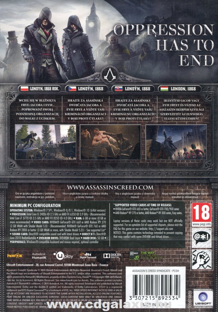 Assassin's Creed Syndicate hátlap