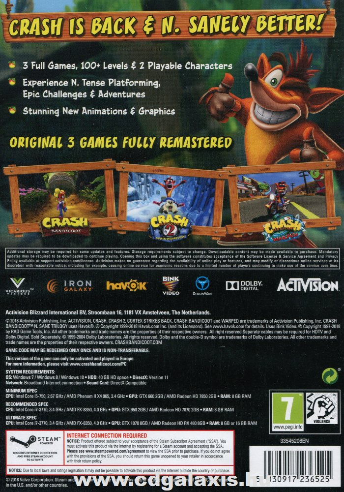 PC játék Crash Bandicoot N Sane Trilogy hátlap