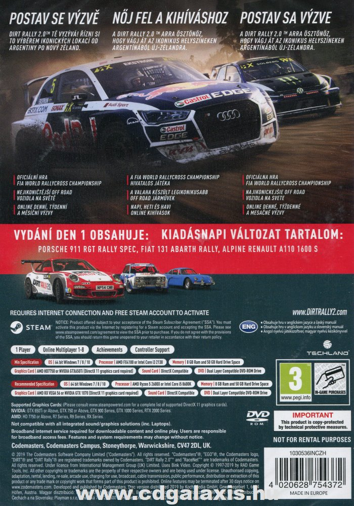 PC játék Dirt Rally 2.0 Day One Edition hátlap