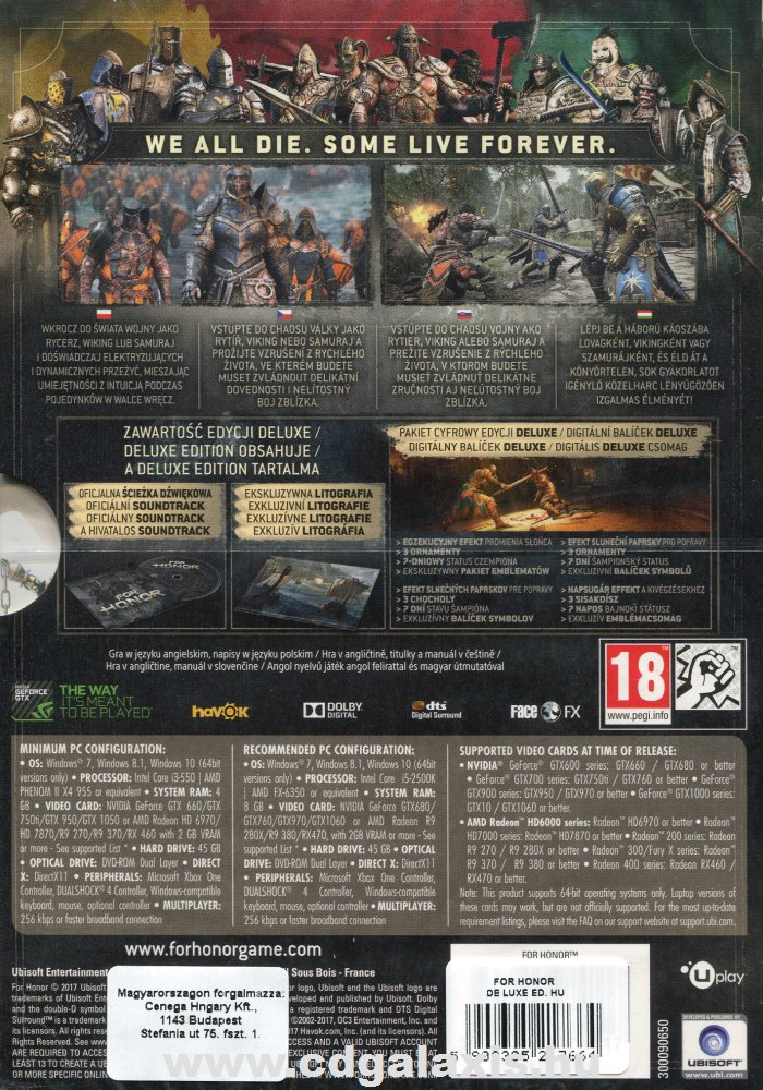 For Honor Deluxe Edition hátlap