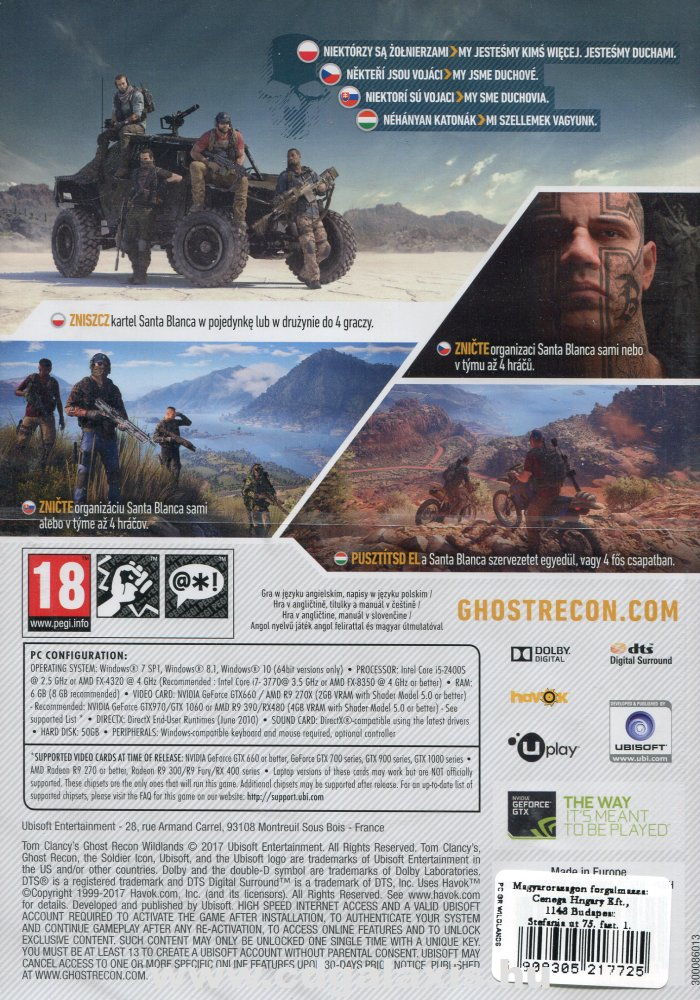 PC játék Ghost Recon Wildlands hátlap