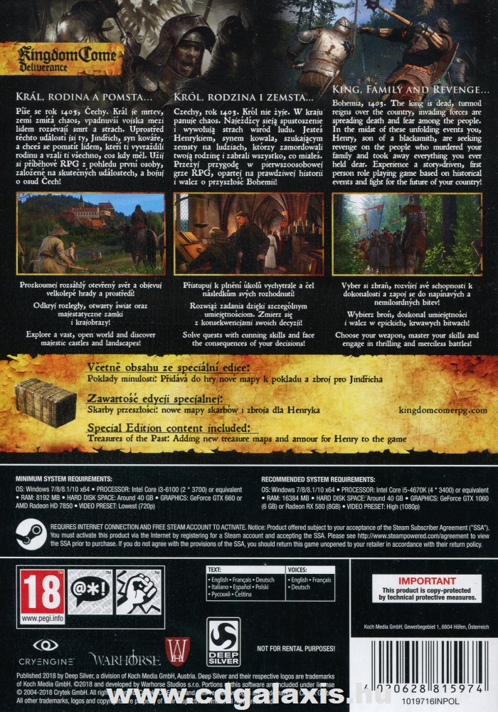 PC játék Kingdom Come Deliverance Special Edition hátlap
