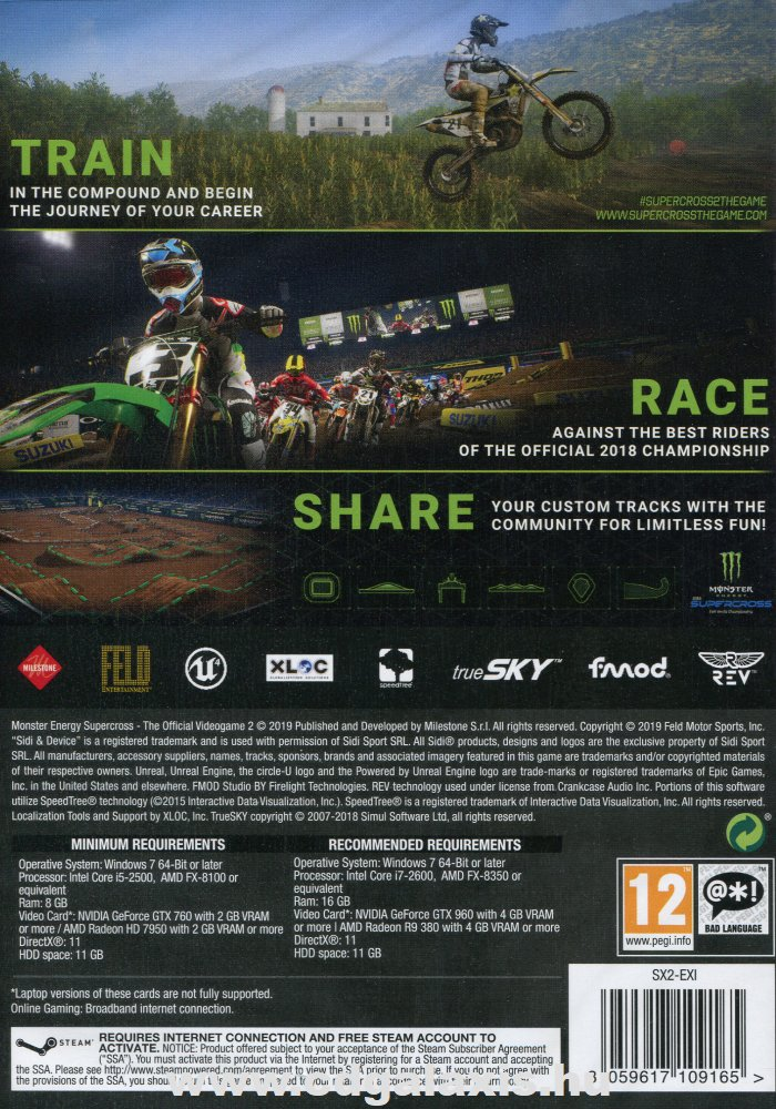 PC játék Monster Energy Supercross - The Official Videogame 2 hátlap