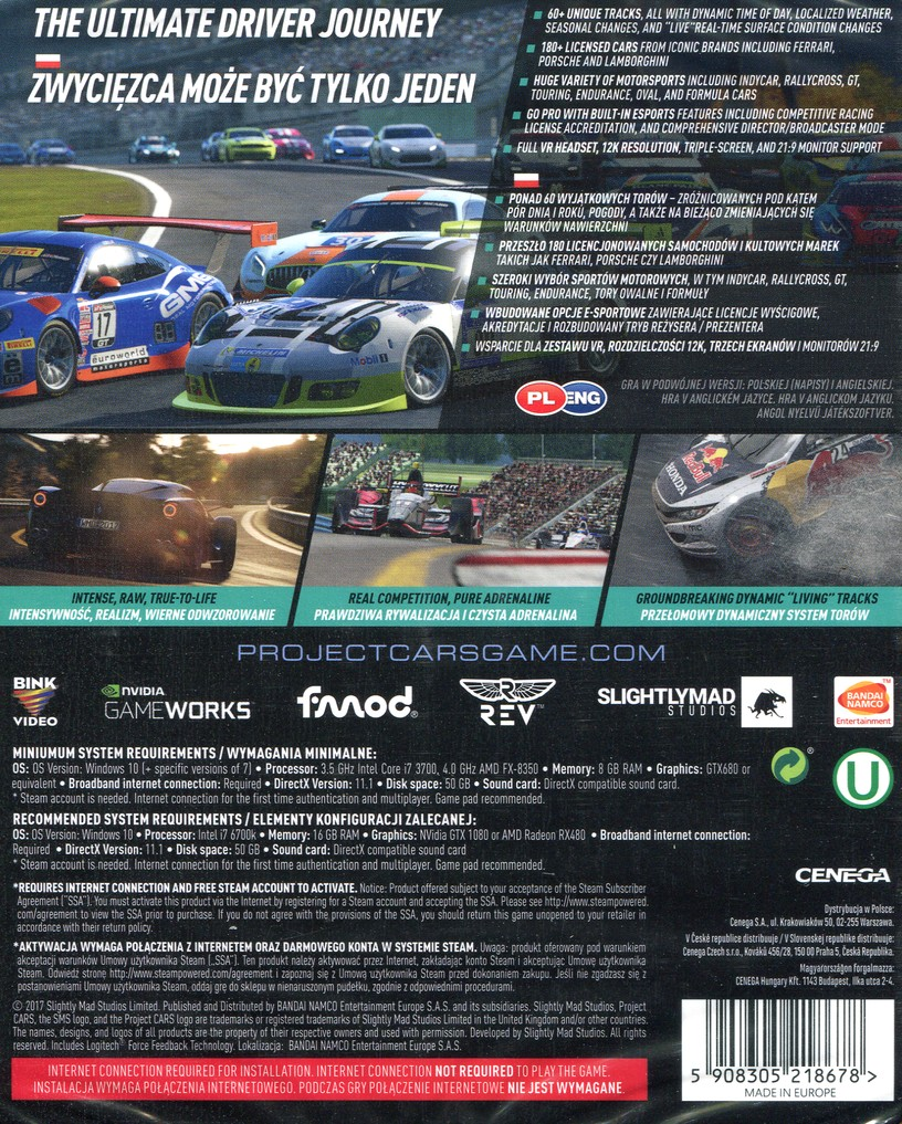 PC játék Project CARS 2 Limited Edition hátlap