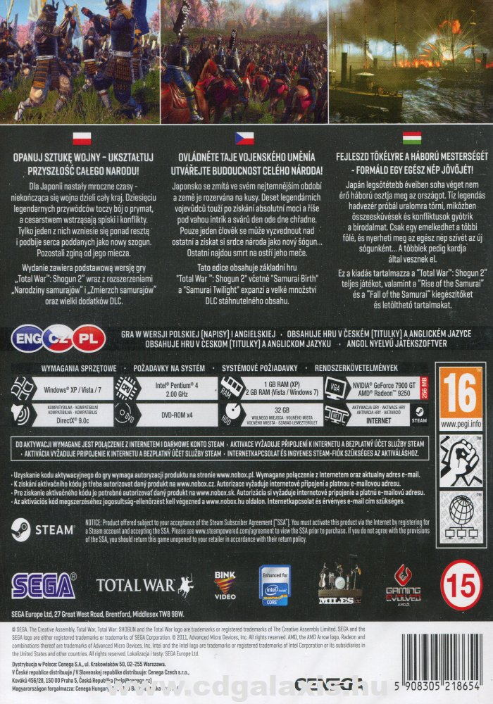 PC játék Total War: Shogun 2 Gold Edition hátlap