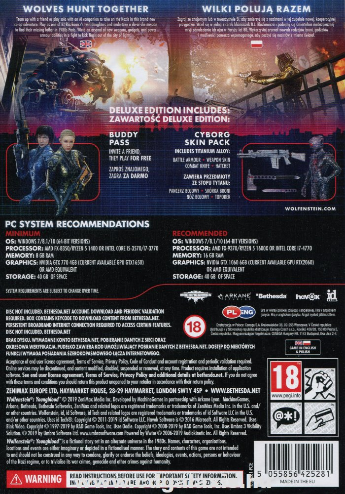 PC játék Wolfenstein Youngblood Deluxe Edition hátlap