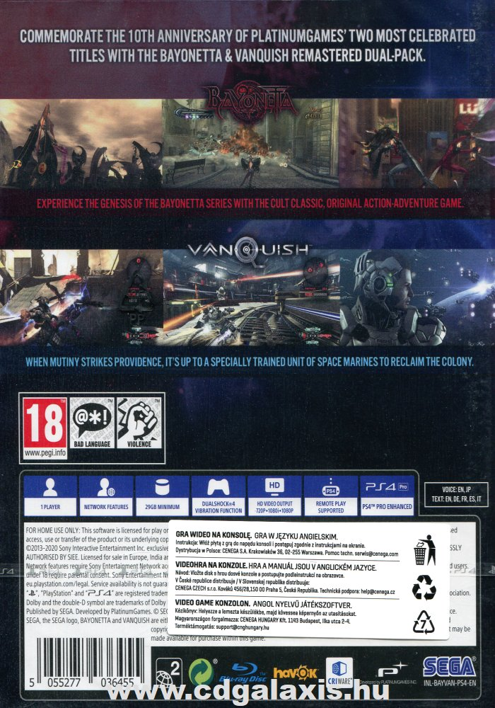 Playstation 4 Bayonetta és Vanquish 10th Anniversary Bundle hátlap