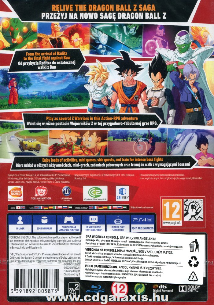 Playstation 4 Dragon Ball Z: Kakarot hátlap