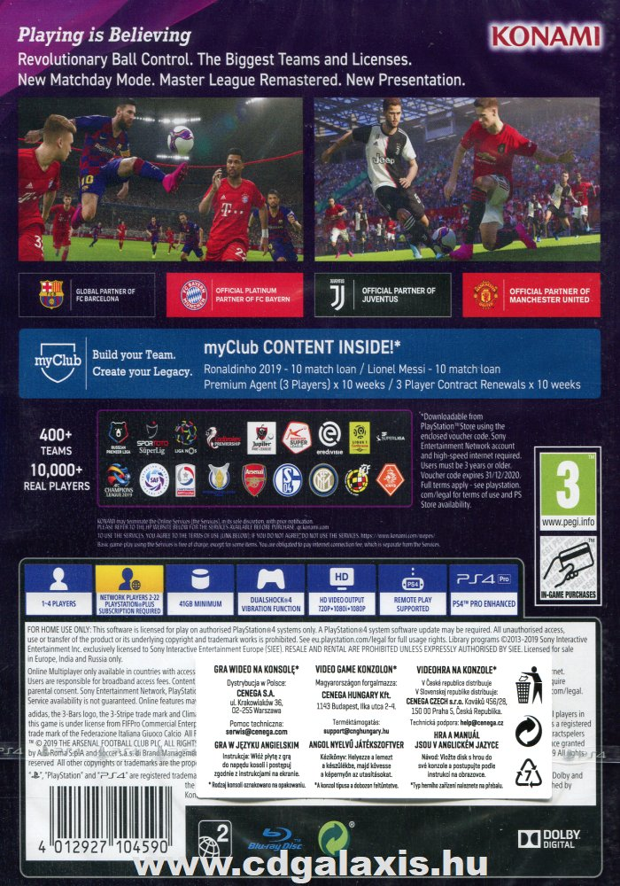 Playstation 4 eFootball PES 2020 hátlap