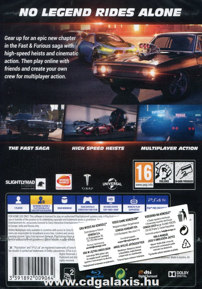 Playstation 4 Fast and Furious Crossroads hátlap