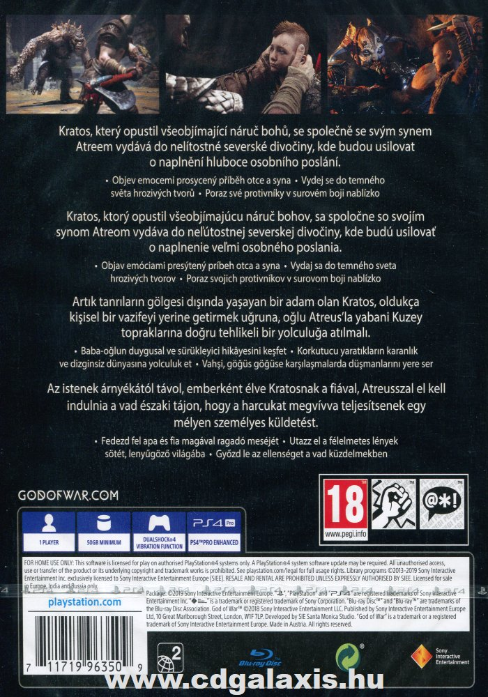 Playstation 4 God of War hátlap