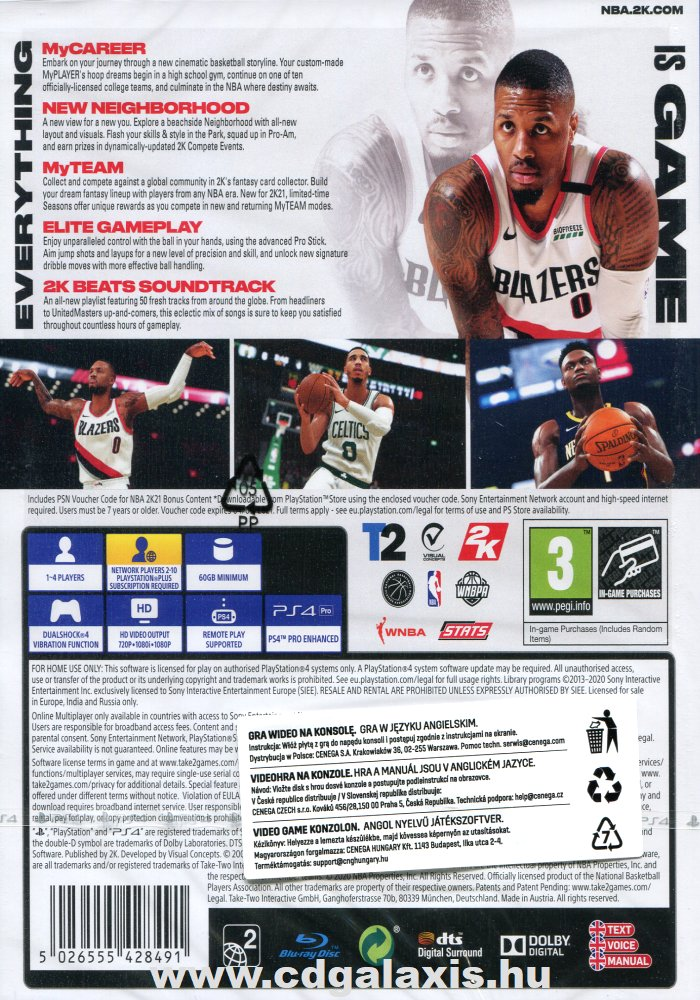 Playstation 4 NBA 2K21 hátlap