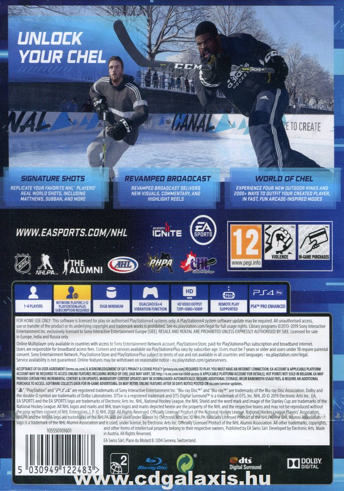 Playstation 4 NHL 20 hátlap
