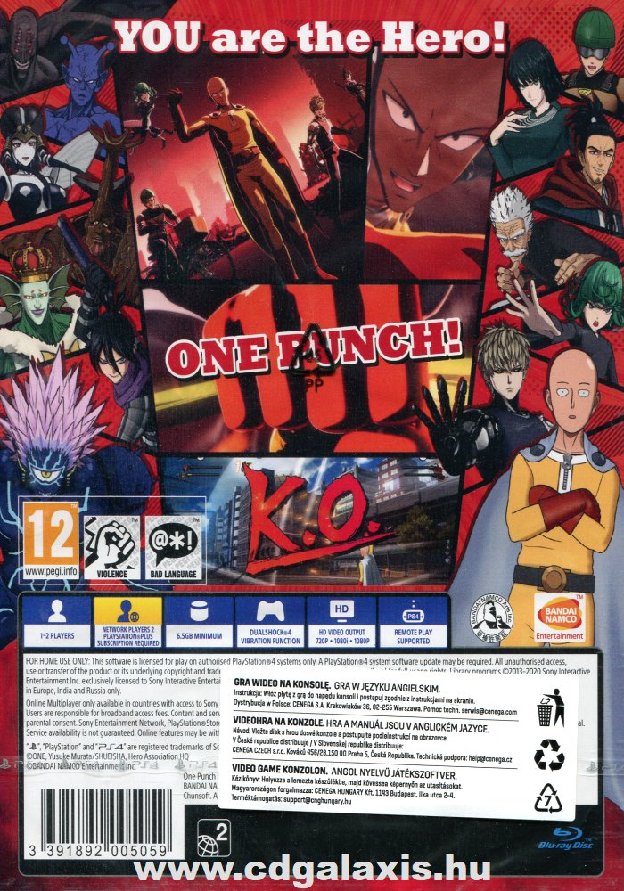 Playstation 4 One Punch Man: A Hero Nobody Knows hátlap