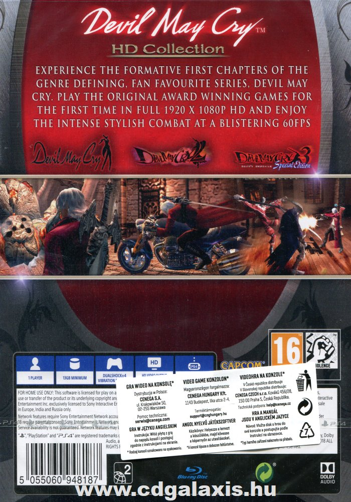 Playstation 4 Devil May Cry HD Collection hátlap