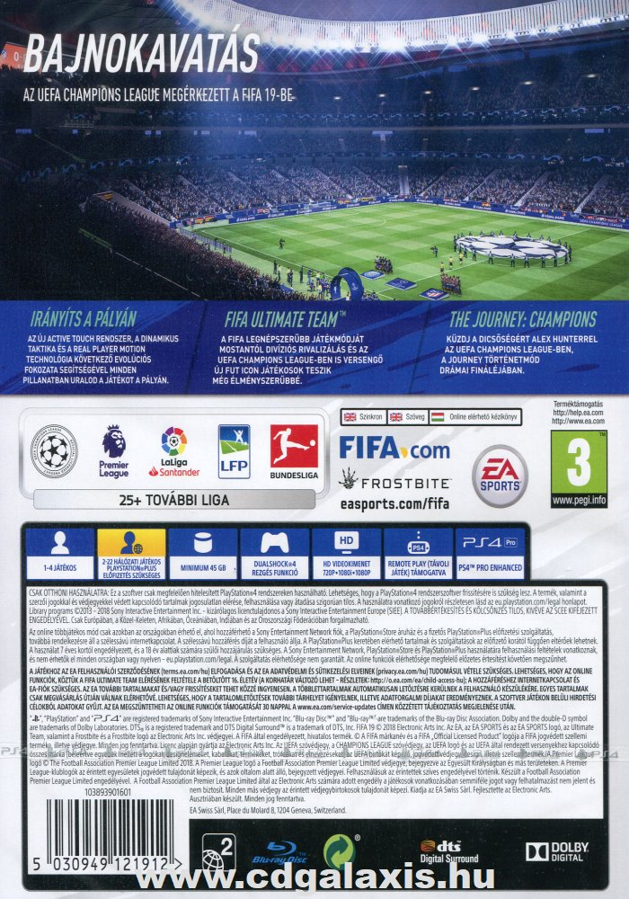 Playstation 4 FIFA 19 hátlap