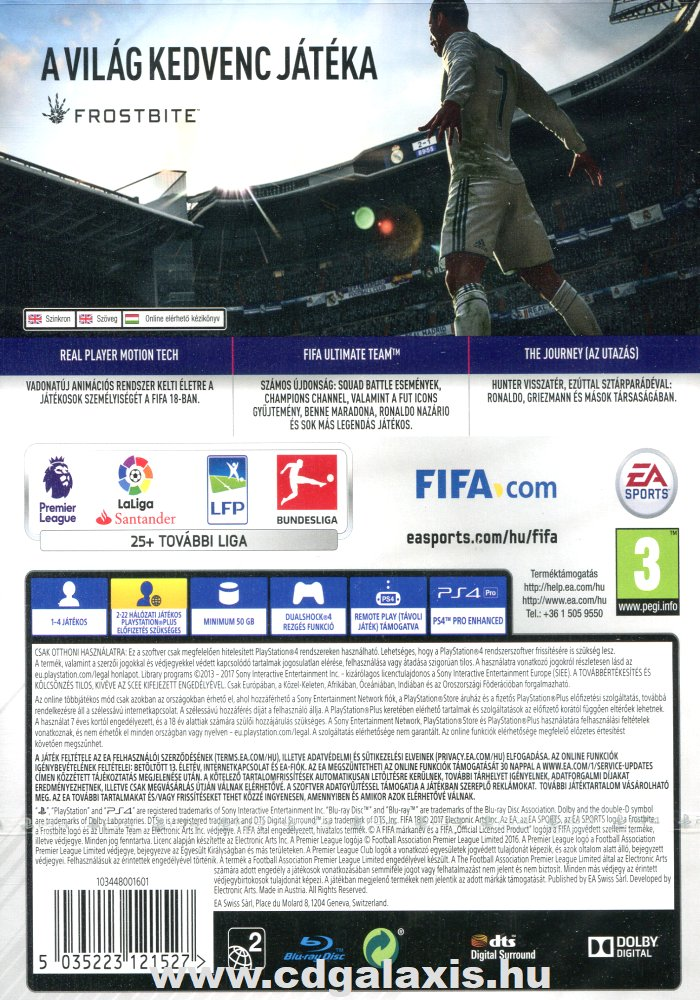 Playstation 4 FIFA 18 hátlap