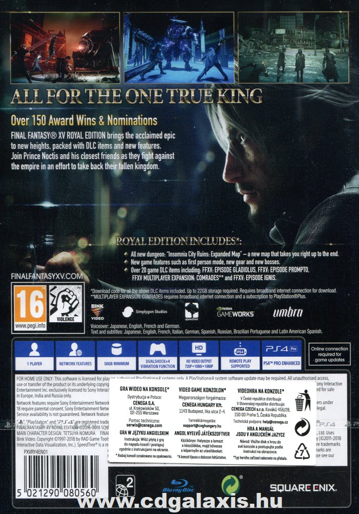 Playstation 4 Final Fantasy XV: Royal Edition hátlap