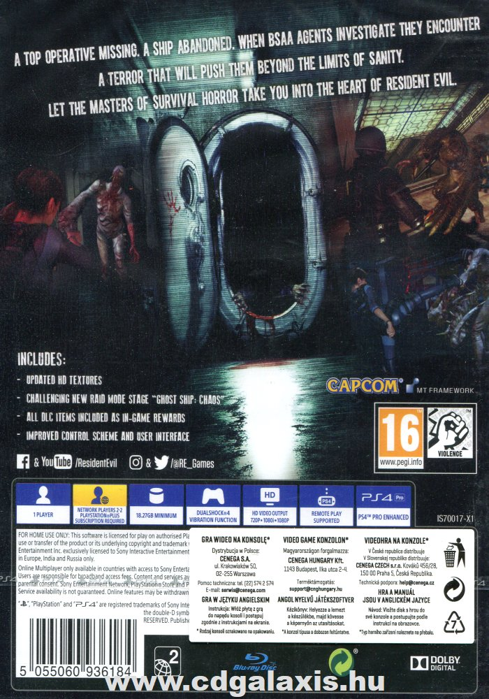 Playstation 4 Resident Evil Revelations hátlap