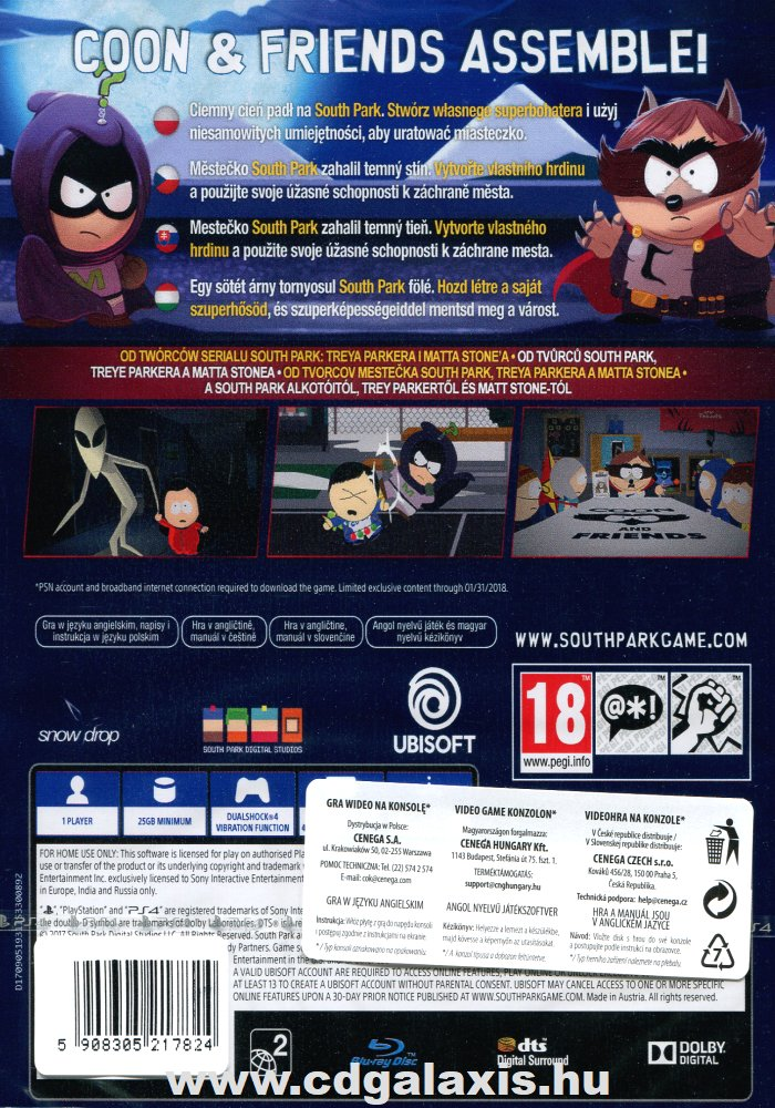 Playstation 4 South Park: The Fractured But Whole hátlap
