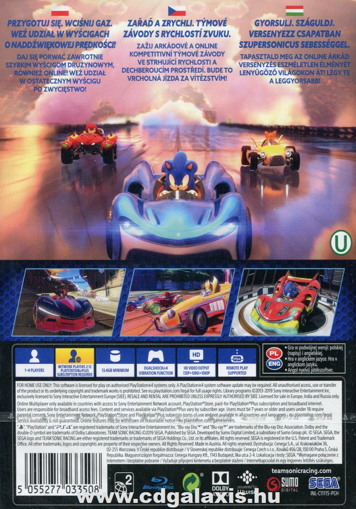 Playstation 4 Team Sonic Racing hátlap
