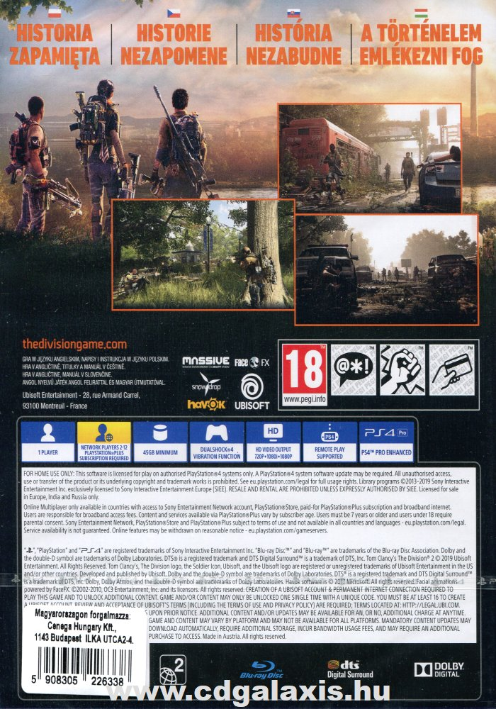 Playstation 4 The Division 2 hátlap