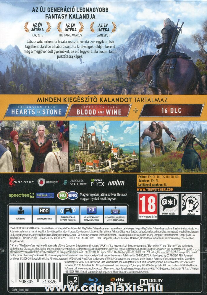 Playstation 4 Witcher 3: Wild Hunt Game of the Year Edition hátlap