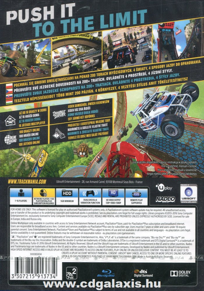 Trackmania Turbo hátlap