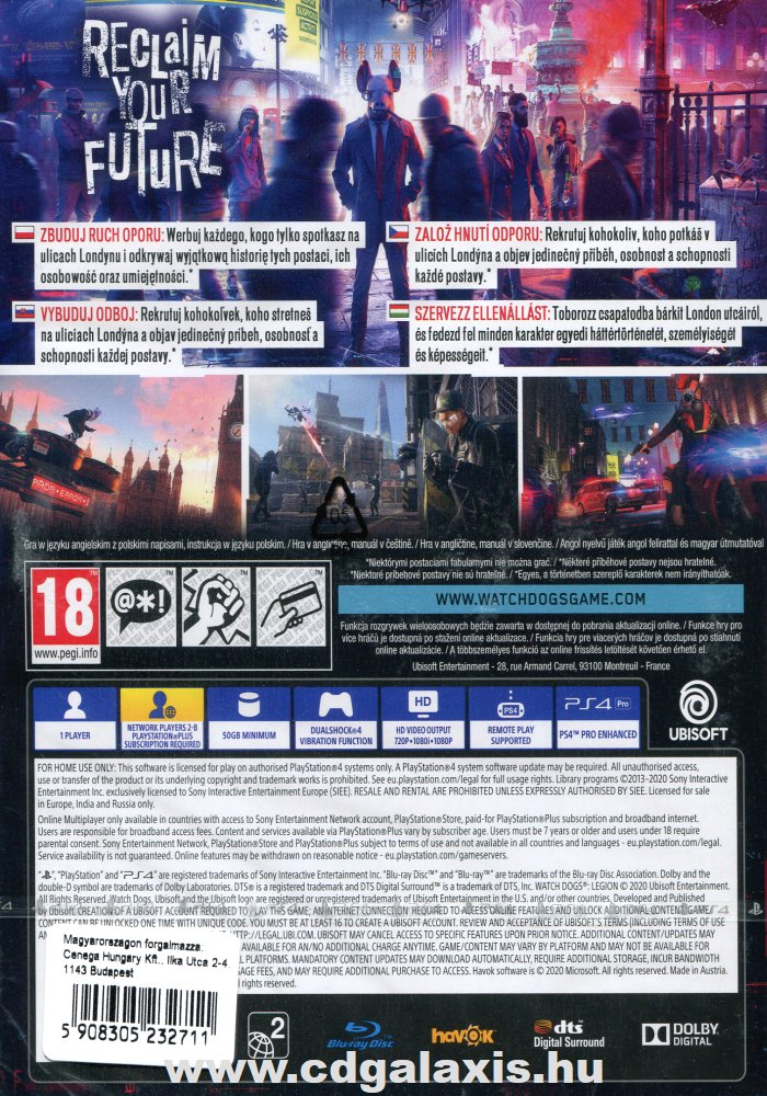 Playstation 4 Watch Dogs Legion hátlap