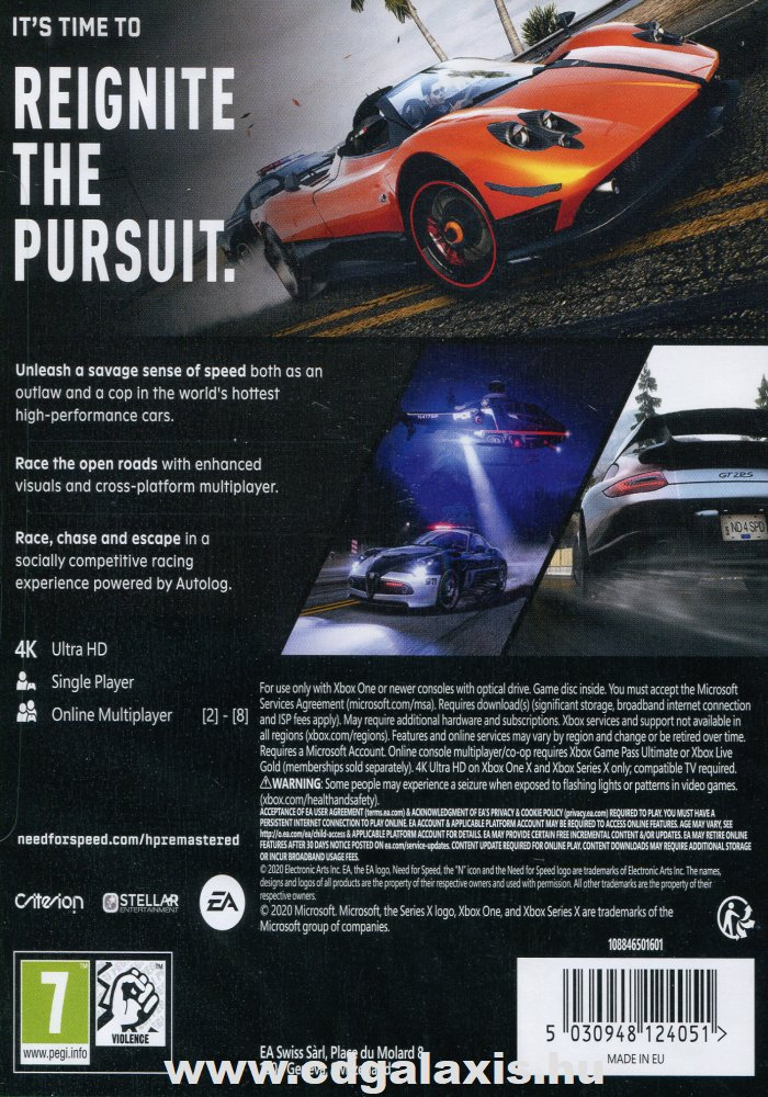 Xbox One Need for Speed Hot Pursuit Remastered hátlap