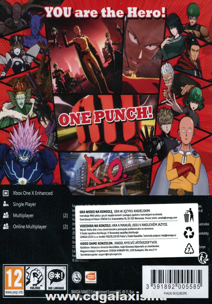 Xbox One One Punch Man: A Hero Nobody Knows hátlap