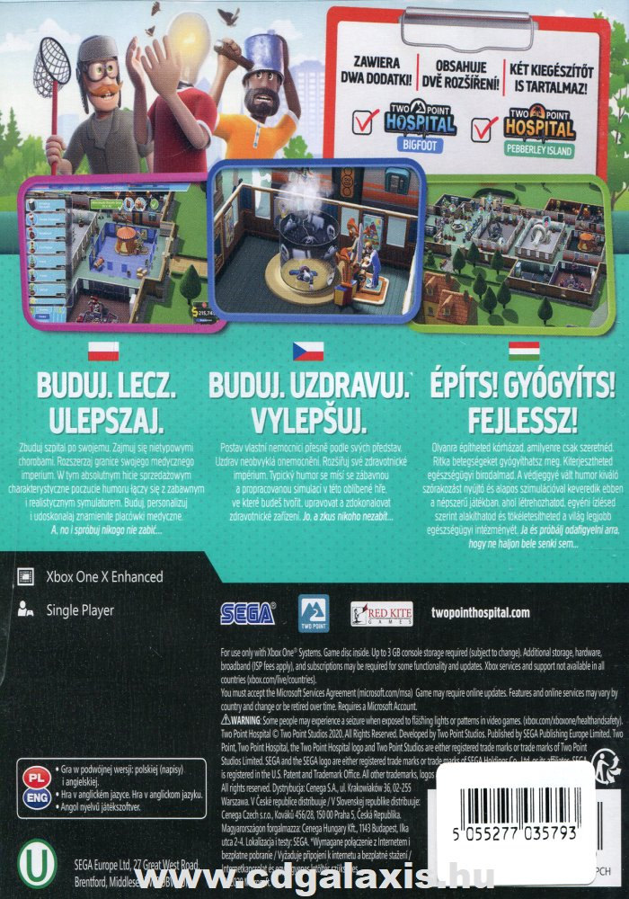 Xbox One Two Point Hospital hátlap
