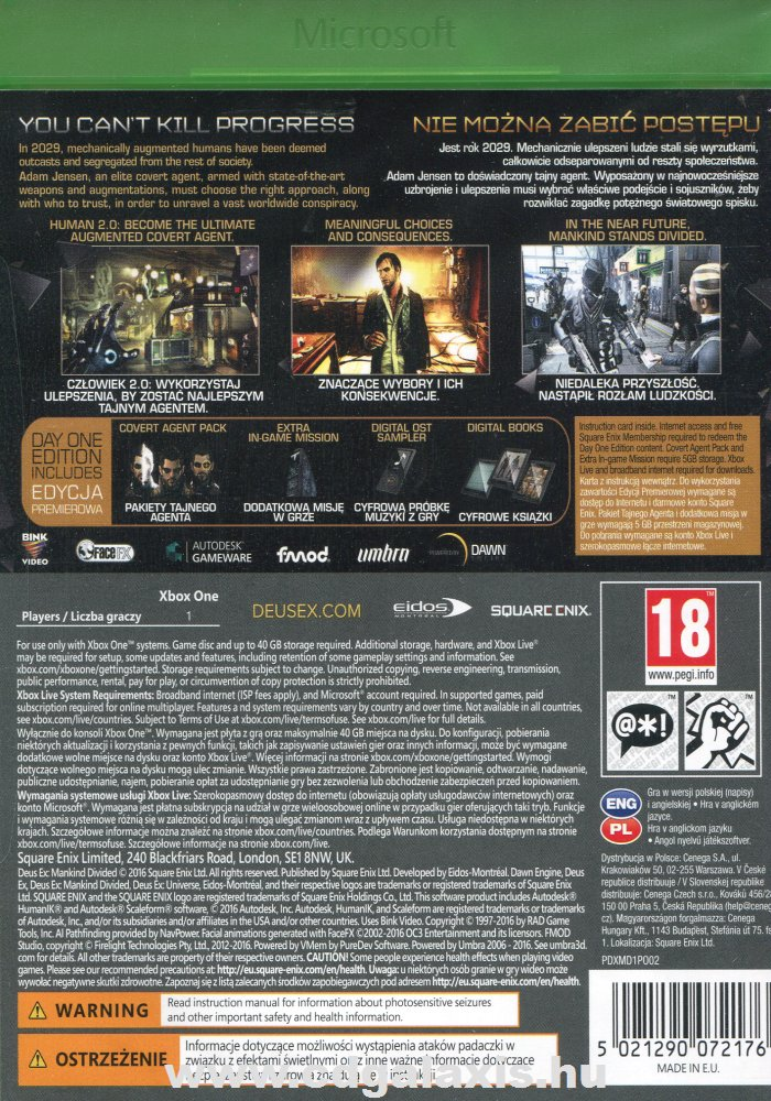 Deus Ex Mankind Divided Day One Edition hátlap