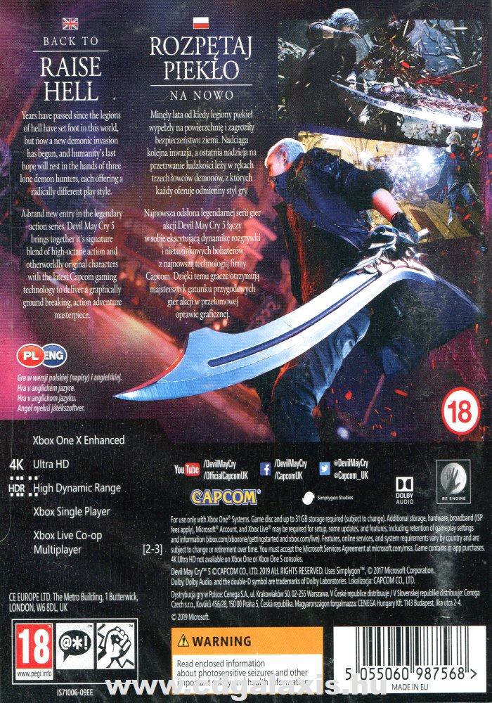 Xbox One Devil May Cry 5 hátlap