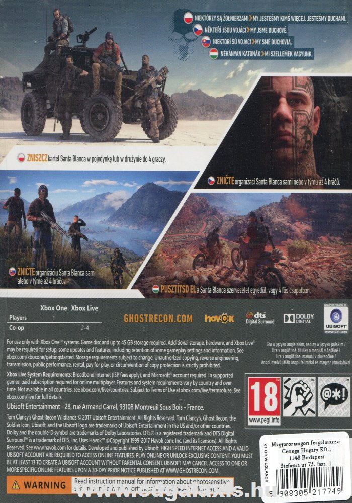 Ghost Recon Wildlands hátlap