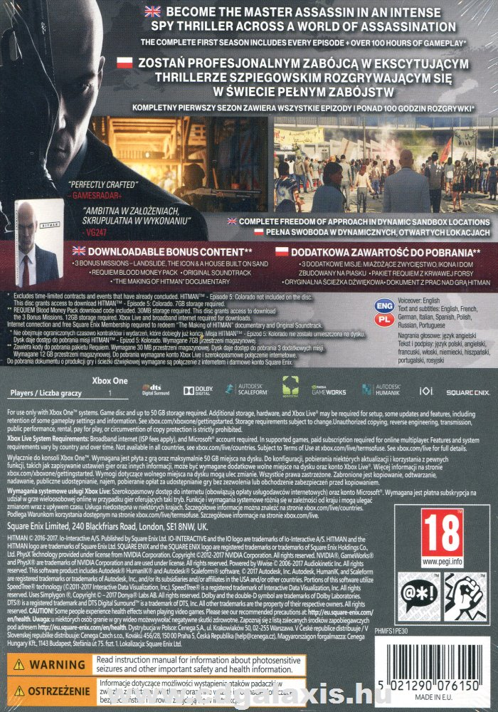 Hitman: The Complete First Season Steelbook Edition hátlap