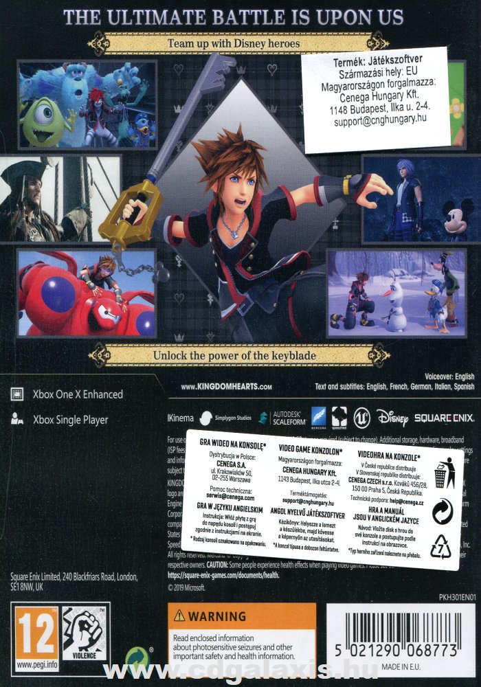 Xbox One Kingdom Hearts 3 hátlap