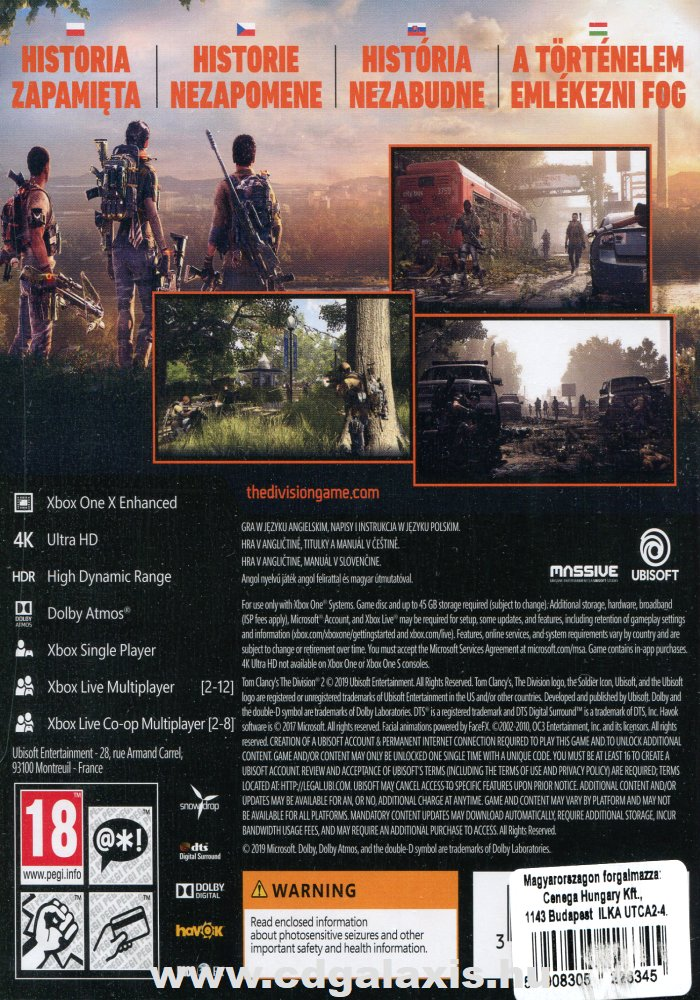 Xbox One The Division 2 hátlap