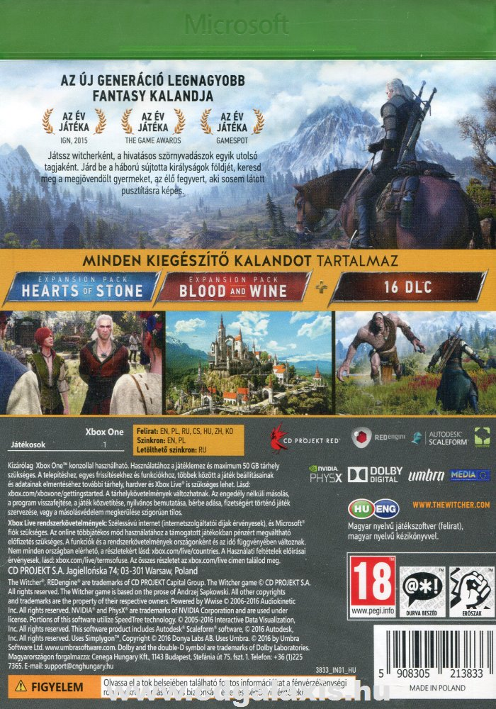 Xbox One Witcher 3: Wild Hunt Game of the Year Edition hátlap